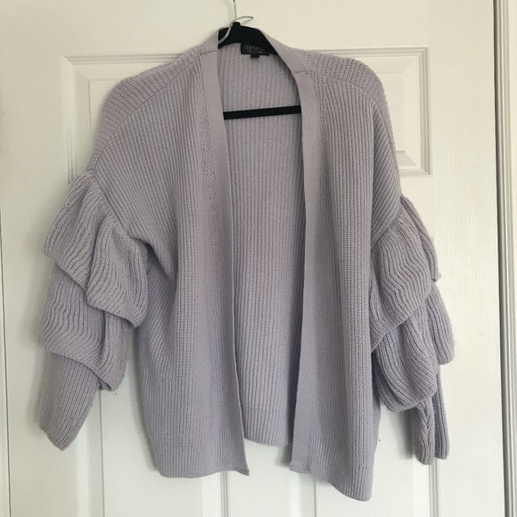 Lilac Bubble Sleeve Knit Cardigan